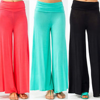 Popular Women's Palazzo Wide Comfortable Pants Leggings Candy Colors S M L