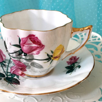 Vintage 1960's Royal London Tea Cup and Saucer, Tea Set, Antique Teacups, English Teacups, Pink Yellow Roses, China, Birthday Gift Friend
