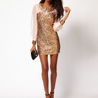 Rare Sequin Collar And Cuffs Shift Dress