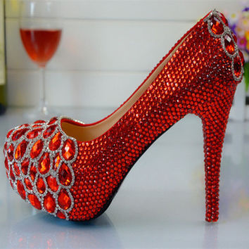 Luxury Red Crystal Wedding Bridal Pumps
