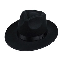 Queen Hat Unisex  Wide Brim Fedora Men Black Jazz Hat Felt Cap Winter Trilby Wool Bowler Hats