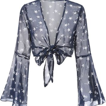 Total Transparency Navy Blue Sheer Star Pattern Long Bell Sleeve V Neck Tie Front Crop Top Blouse
