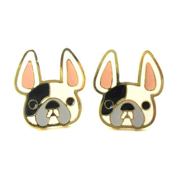 French Bulldog Puppy Face Shaped Animal Stud Earrings in White with Black Spot | Limited Edition Jewelry