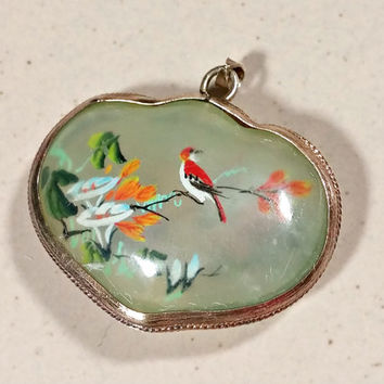 Antique Glass Painted Floral Scene with Birds Gilt Silver Frame Double Sided Necklace Pendant Painted Inside of Glass Lovely Antique Piece
