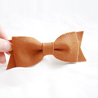 Large felt  bow Clip  brown hair bow barrette clip big by urBunny