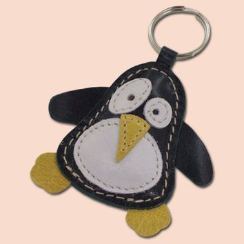 Cute Little Dark Green Penguin Leather Animal Keychain - FREE Shipping Worldwide - Dark Green Leather Bag Charm In A Shape Of Penguin