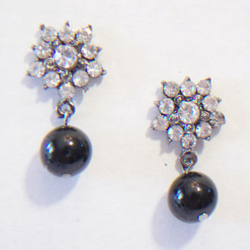 Rhinestone Beaded Dangle Earrings Flower Jewelry Floral Fashion Accessories For Her