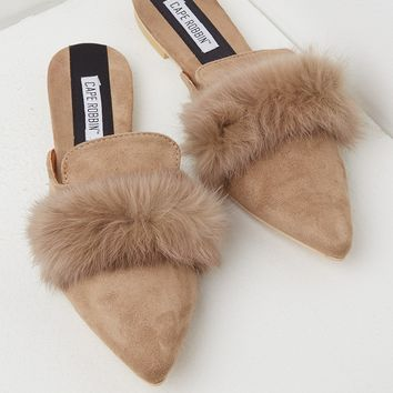 Pointed Toe Fur Flats in Black and Khaki