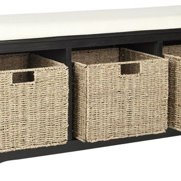 Lonan Wicker Storage Bench Black/White