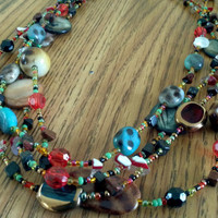Chunky colorful layered bib necklace natural stone abalone mother of pear and glass beads artisan creation jewelry favorite popular style