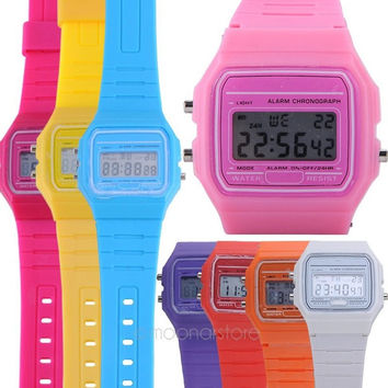 Girls Ladies Women Digital Rubber Silicone Wrist Watch Multi Candy Color Alarm Stopwatch = 1958195460