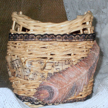 "Decorative handmade wicker basket from paper ""Flight"""