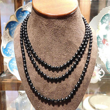 "Art Deco Matte Black Onyx Beads Beaded Necklace Mourning Jewelry 1920s 20s Antique Flapper Necklace Jasper Stone 54"" Rope Length Hand Strung"