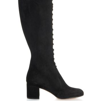 Lace-up suede block heel knee boot | Gianvito Rossi | MATCHESFASHION.COM US