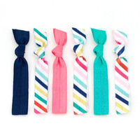 The Neapolitan Stripe Package - 6 Elastic Bright Rainbow Print Nautical Hair Ties that Double as Bracelets by Mane Message on Etsy