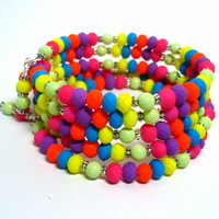 Neon Bright Multi-Color Multi-Wrap Handmade BOHO Bracelet