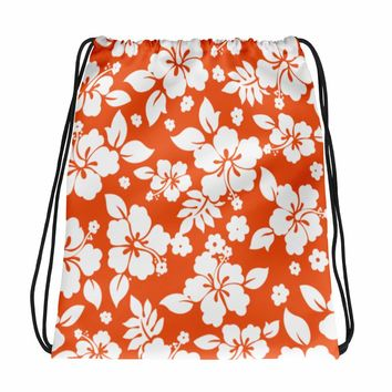 Hawaiian Tropical Hibiscus Orange and White Pattern Drawstring bag