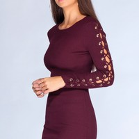 Lace Me Up Dress - Plum