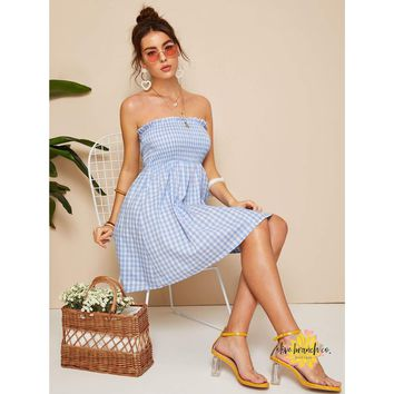Frilled Shirred Plaid Tube Dress