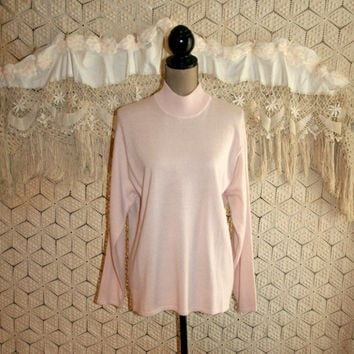 Blush Pink Sweater Mock Turtleneck Silk Sweater Spring Sweater Top Long Sleeve Fashion Sweater Size 16 1X XL Womens Plus Size Clothing
