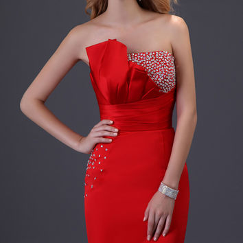 Red Strapless Beaded Ruched Bodycon Homecoming Dress