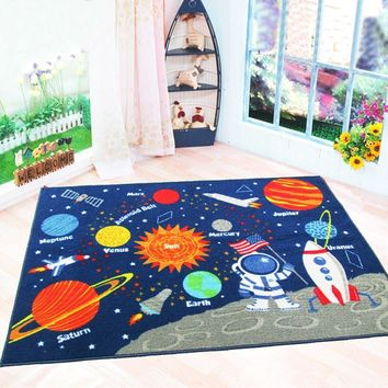 Kids Rugs Non Skid Washable Children Educational Learning Carpet for Playroom Bedroom Solar System Large Area Rug Blue 3.3' x 4.3' (Stars)