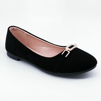 Women's Black Flats with Gold Color Buckle Detail