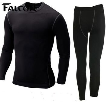 Falcon Men sport suits mens nylon running tights sets body fit fitness yoga spandex t-shirt pants for men run athletics clothing