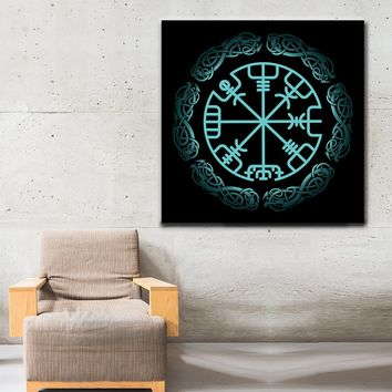 Vegvisir Viking Symbol Icelandic Magical Stave Framed Wall Art