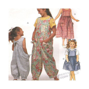 Uncut Pattern  Girls Jumpsuit or Sundress in Two Lengths McCalls 7185 Size 10 12 14