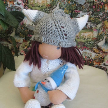 "ON SALE - 10% OFF Crochet viking hat  for 16""-18"" Waldorf doll and American girl doll"