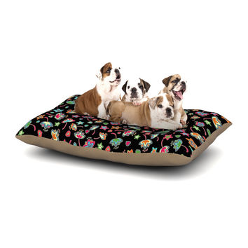 "Julia Grifol ""Sweet Flowers"" Multicolor Black Dog Bed"