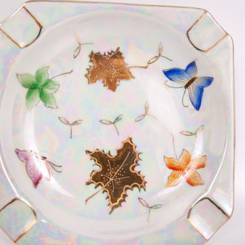 Vintage Lipper and Mann Ashtray Butterflies Leaves Lustreware Made in Japan Pearlescent Hand Painted