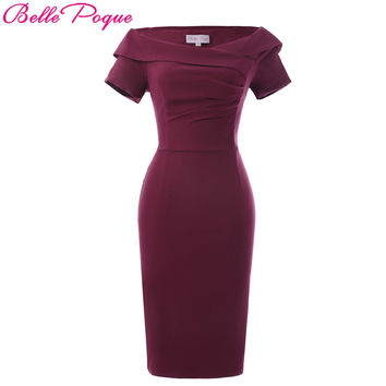 Belle Poque 2017 Fashion Retro Summer Pencil Dress Short Sleeve Off Shoulder Hips-Wrapped Bodycon Women Office Work Dresses