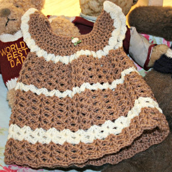 Baby crochet dress Newborn girl dress 0 - 3 months Handmade pinafore jumper Baby clothing Coffee & cream Baby girl clothes Baby shower gift