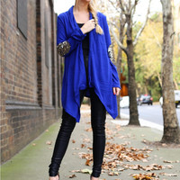 Blue Long Sleeve with Elbow Patch Cardigan