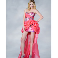 2013 Prom Dresses - Coral Strapless Organza High Low Prom Dress - Unique Vintage - Cocktail, Pinup, Holiday & Prom Dresses.