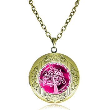 TREE OF LIFE Pendant Bodhi Tree locket Necklace Yin Yang Yoga Tree Jewelry Meditation Jewelry Zen Necklaces tree Reflection 8