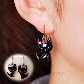 LMFUG3 Latest New Arrival2015 New Chic Lady Girls Charming Lovely Cat Alloy Rhinestone Ear Stud Earrings