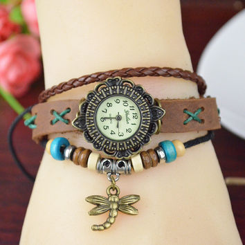 Genuine leather Bracelet Watch Dress Watches leaf Pendant Vintage Quartz