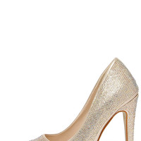 Made of Magic Gold Rhinestone Pointed Pumps