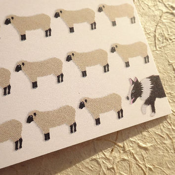 Sheep & dog greeting card, cute lambs and an over-protective sheepdog make this an adorable hand-drawn notecard