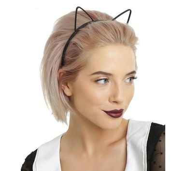 kids black cat ears head bands fashion Lady Girl Hairband Sexy Self Headband Baby birthday party Hair Accessories for Women hoop