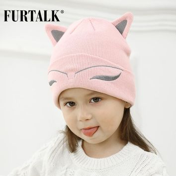 FURTALK Winter Baby Hat Wool Knit Beanie Skullies for Girls and Boys Lovely Cat Ear Kids Hats