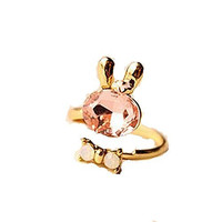 Basket Hill , Easter Bunny w/ Pink, Clear Crystals and Flower Ring, Adjustable