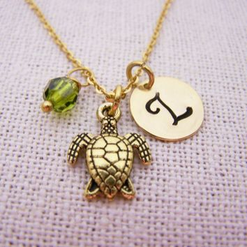 Sea Turtle Necklace - Gold Initial Necklace - Birthstone Necklace - Initial Disc Necklace - Personalized Necklace - Turtle Charm