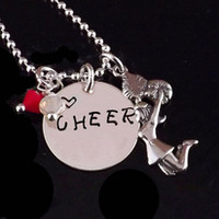 Love CHEER Necklace with Cheerleader and School Colors