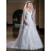 2017 New Arrival Sexy Long sleeve Wedding Dresses Wedding Custom-Made Bridal Gown Plus Size Vestido De Noiva