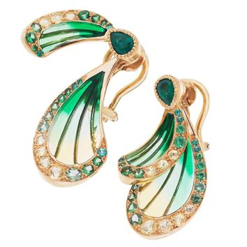 Lalique Libellule Emerald and Yellow Gold Earrings