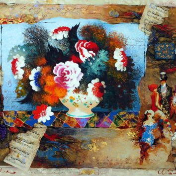 Original Mixed Media on Canvas Signed Painting by Alexander & Wissotzky Flowers and Notes Unique Art